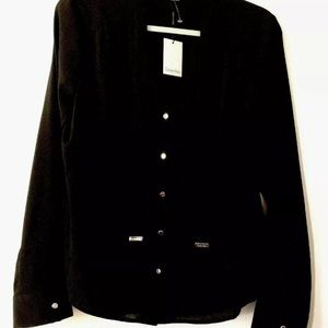 Calvin Klein Suits Blouse L Black Silver Button